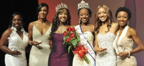 From left to right: Second runner-up Miss Black North Carolina, Pia Jessup, First runner-up Miss Black Oklahoma, Claudia Williamson, 2011 Miss Black USA Ocelia Gibson, 2012 Miss Black USA Salena Watkins, Third runner-up Miss Black Minnesota, Brittany Lynch, Fourth runner-up Miss Black Michigan, Alescia Hollowell.