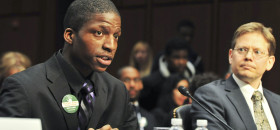"Edward Ward, a graduate of Orr Academy High School in Chicago, Ill. (left) testifies during the ""Ending the School-to-Prison Pipeline"" Senate subcommittee hearing on December 12, 2012 as Andrew Coulson, director of the Center for Educational Freedom at the Cato Institute looks on. (Freddie Allen/NNPA)"