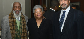 "Dick Gregory (right) attended the National Black Chamber of Commerce's (NBCC) ""Changing of the Chairs"" luncheon on Monday, March 4. Gregory poses with Dorothy R. Leavell (center), Editor and Publisher of the Crusader Newspaper Group (Chicago, IL and Gary, IN), who was named incoming Chairperson of the NBCC and Harry Alford, President and CEO of the NBCC."