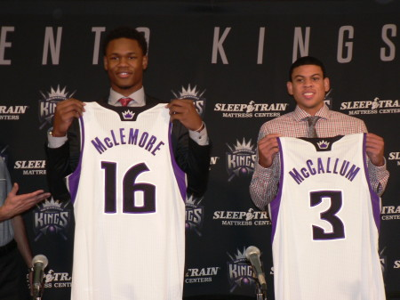 Ben McLemore, left, and Ray McCallum Jr., right, show off their Sacramento Kings jerseys for the first time. The players taken in last week's draft met with the local press at Sleep Train Arena, July 1. OBSERVER Photo by Antonio R. Harvey.