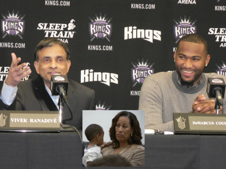 Sacramento Kings principle owner Vivek Ranadive, left, explains why he made DeMarcus Cousins, right, the face of the franchise. Cousins signed a 4-year, $62 million deal to stay with the Kings on Sept. 30. Inset photo — DeMarcus Cousins' mother Monique Cousins, was in Sacramento for his big payday. Monique is holding DeMarcus' one-year-old son Amir Cousins. OBSERVER photos by Antonio R. Harvey