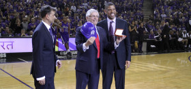 Sacramento Mayor Kevin Johnson, right, and Kings principal owner Vivek Ranadive, left, presents NBA Commissioner David Stern, center, with the keys to the city during opening night at Sleep Train Arena. Kings beat the Denver Nuggets 90-89. Oct. 30, 2013. OBSERVER photo by Robert Maryland.