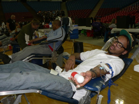 Henry Block relaxes as he donates a pint of blood at Sleep Train Arena on Veterans Day. BloodSource collected more than 300 pints of blood from donors in the Sacramento region. OBSERVER photo by Antonio R. Harvey