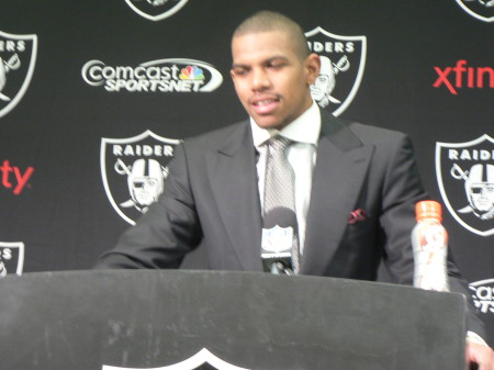 Oakland Raiders quarterback Terrell Pryor talks to the press after the team lost 34-14 to the Denver Broncos. OBSERVER photo by Antonio R. Harvey
