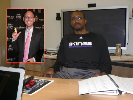 Shareef Abdur-Rahim has multiple duties with the Sacramento Kings, including as the D-League's General Manager of the Reno Bighorns. Inset: Kings General Manager Pete D'Alessandro said Abdur-Rahim was high on his list to join him on his staff had he took the GM job for the Denver Nuggets. OBSERVER Photos by Antonio R. Harvey