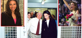 Main photo — Erika Harold, right, after relinquishing her 2003 Miss America crown, took a tour of Angola Prison in Louisiana in March 2004. She is shown here touring the facility with Angola Prison warden Burl Cain, left (photo courtesy of The Angolite).  Left photo —  Harold, a Republican, is vying for the 13th Congressional District of Illinois. If she gets to the general election and claim victory, Harold would be the first Black female Republican elected to Congress. The primary election is March 18 (AP photo).  Right photo — Harold's reaction after she won the Miss America crown in September 2002 (photo courtesy of Erika Harold).