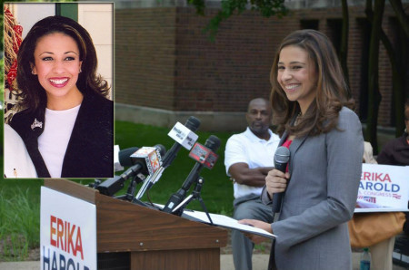 Former Miss America Erika Harold could be the first Black woman Republican elected to Congress if she makes it out Illinois' Primary and General Election. Photo — Harold makes her announcement to run for the 13th District seat in Illinois  (photo courtesy of Erika Harold For Congress). Inset — Photo courtesy of The Angolite.