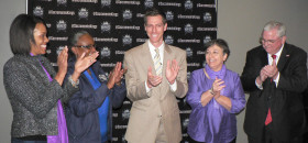 he Sacramento Kings and their Literacy Partners are elated about reaching their $100,000 goal. The funding will support local reading campaigns. From left to right are Symia Stigler, Sacramento Reads!; Stephanie R. McLemore-Bray, United Way; Phil Horn, Kings VP of tickets sales and service; Rivkah K. Sass; Sacramento Public Library, and Sacramento Office of Education Superintendent David W. Gordon.   (OBSERVER Photo By Antonio R. Harvey)