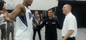 Sacramento Kings forward Rudy Ray, principal owner Vivek Ranadive, and head coach Michael Malone were jovial during the first day of training camp. But they would be a lot more happy with more than 28 wins this upcoming season. (OBSERVER Photo by Antonio R. Harvey)