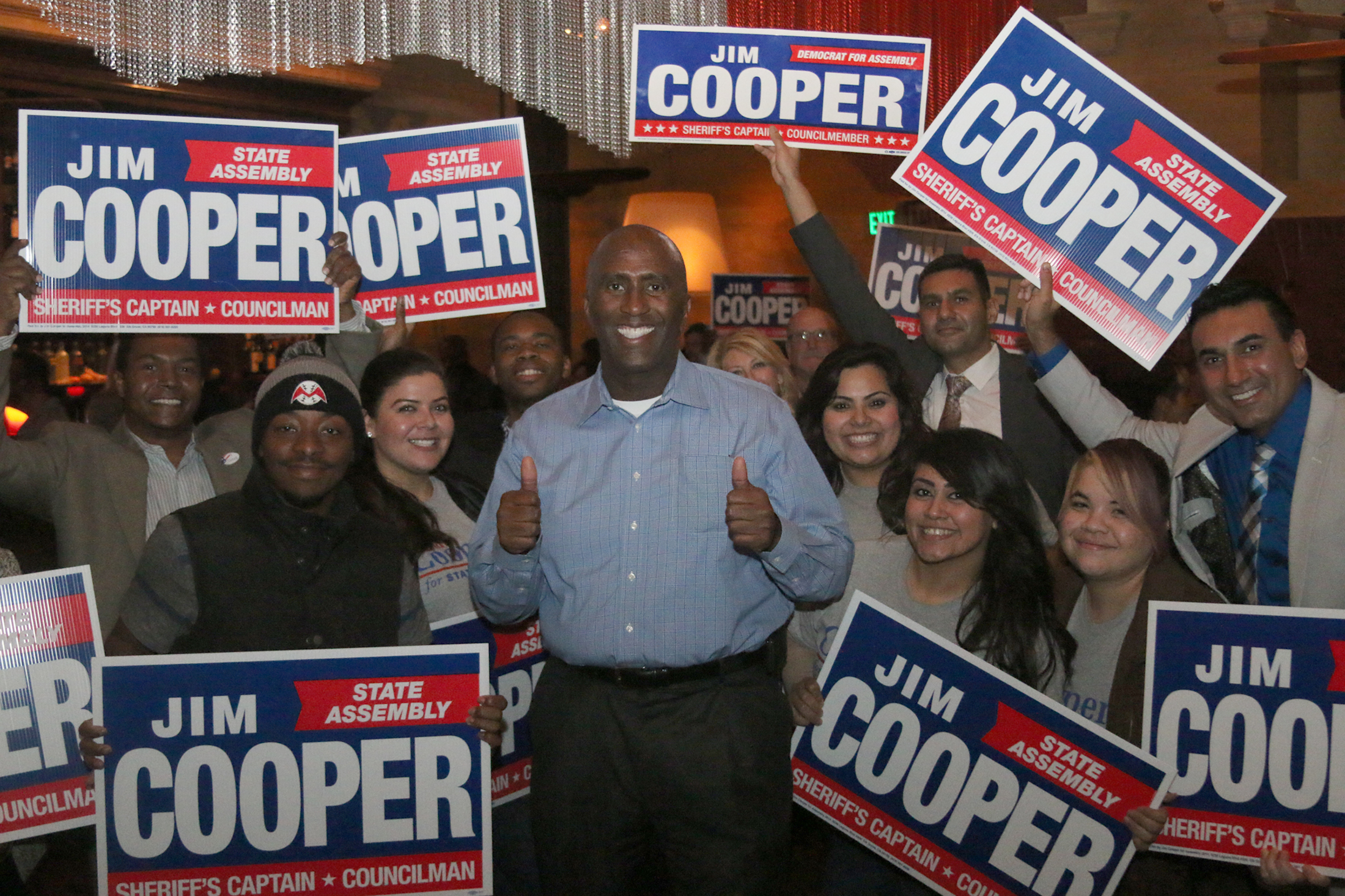 Jim Cooper and his supporters were elated to see the Elk Grove Councilman in a commanding lead for State Assembly District 9. Cooper's viewing party was at Paesano's Restaurant in Elk Grove. (OBSERVER photo by Ray Johnson)