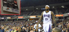 Sacramento Kings center DeMarcus Cousins said he will purchase and donate new basketball scoreboards to Sacramento Charter High School. The current scoreboards (inset photo) is antiquated and prone to malfunctioning during games. (OBSERVER photos by Antonio R. Harvey)