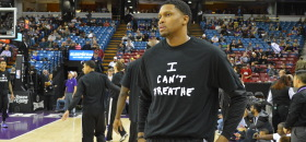 Sacramento Kings Forward Rudy Gay and some of his teammates wore 'I Can't Breathe' T-shirts during their game against the Houston Rockets at Sleep Train Area on Dec. 11. The game was nationally televised. (OBSERVER photo by Antonio R. Harvey)