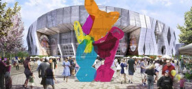 "Iconic artist Jeff Koons' ""Coloring Book No. 4"" will be the exterior centerpiece of the new Sacramento Entertainment and Sports Center. The City Council voted 7-0 March 10, 2015, to purchase the artwork that is a rendering of Piglet from Winnie the Pooh."