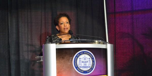 Attorney General Loretta Lynch speaking at NAACP convention in Philadelphia (Photo by Abdul Sulayman/Philadelphia Tribune}