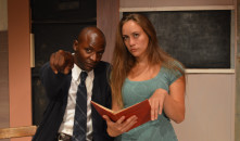 Tory Scroggins, left, and Liz Frederick, right, portray brilliant minds in the midst of racial conflict. The stage play at Celebration Arts ends Aug. 29. (OBSERVER photo by Antonio R. Harvey)