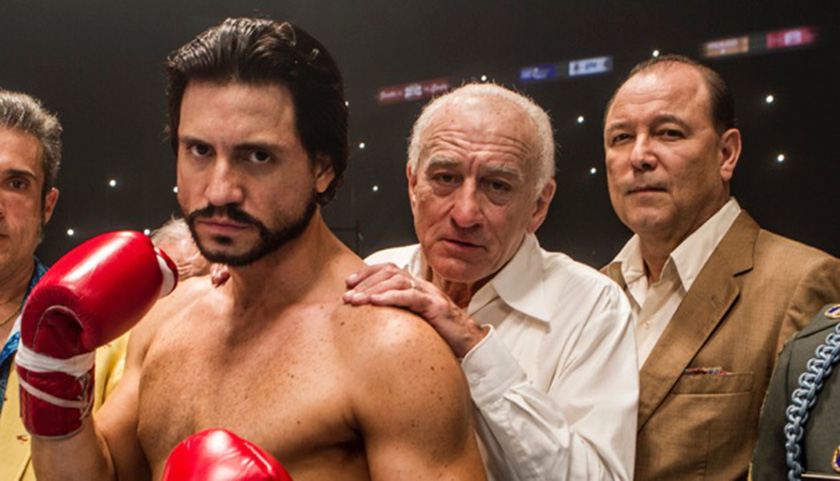 "Edgar Ramirez (left), Robert De Niro, and Rubén Blades star in ""Hands of Stone."" (The Weinstein Company)"