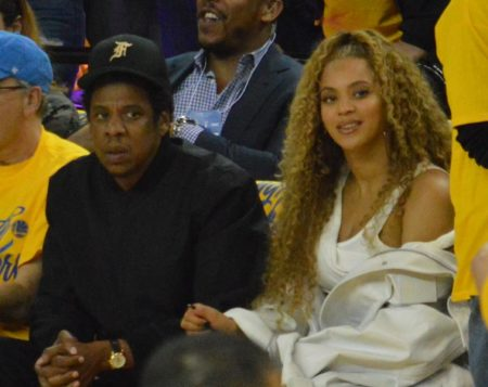9397c910363 Beyoncé and Jay-Z at the Golden State Warriors New Orleans Pelicans game of  the NBA Playoffs at The Oracle in Oakland